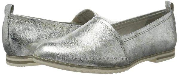 MARCO TOZZI балетки, серебро, 38й размер, на 25см.