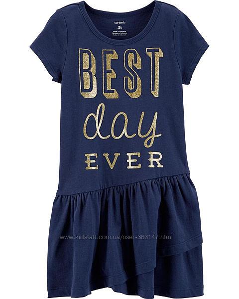 Платье Carters Синее с глиттерной надписью