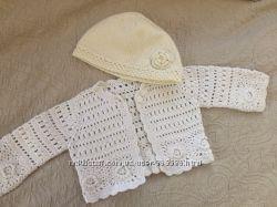 Набор для новорожденной девочки шапочка кофточка