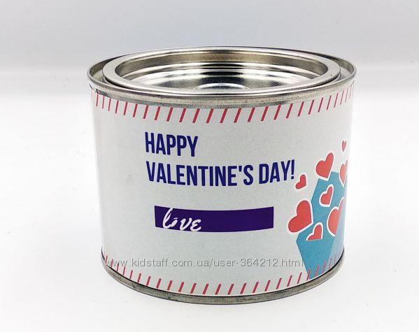Подарок Носки в банке  С Днем Св. Валентина 3 пары Черные