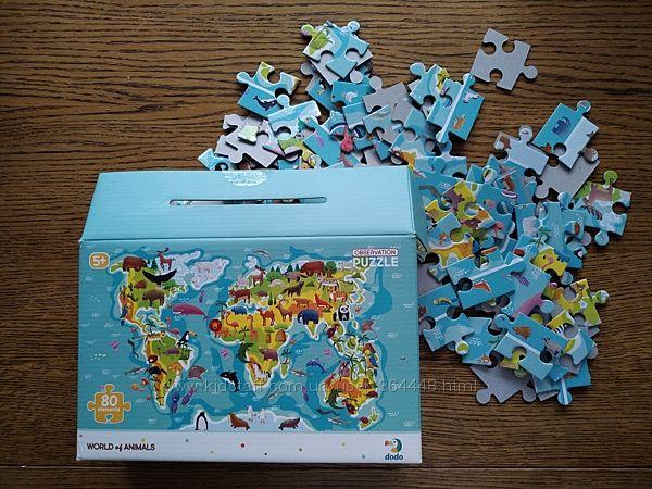 Пазлы Карта Мир животных, 80 дет. Dodo