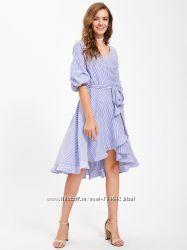Платье с запахом и оборкой, рукав-фонарик