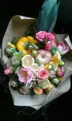Оригинальные букеты из продуктов, фруктов и овощей