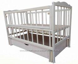 Кровать кроватка детская на маятниках шарнир ящик Белая