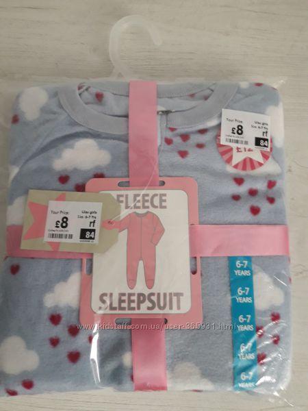 Флисовые пижамы, слипы Crafted Англия 4-8 лет окончательная распродажа
