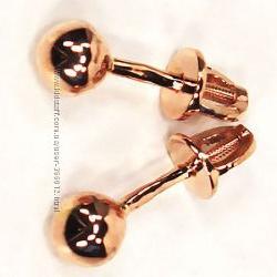 Серьги-гвоздики Шары из золота 585 пробы