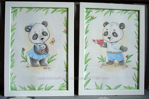 Картины в детскую Панды пара
