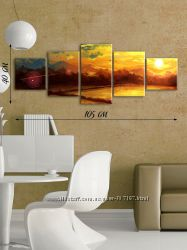 5-ти модульная картина на холсте Восход