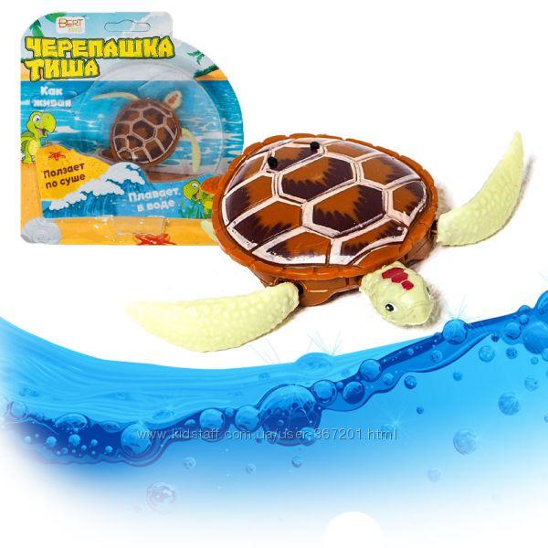 Черепашка Тиша ползает, плавает
