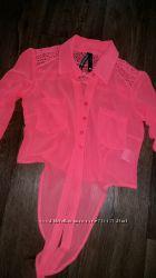 Скидка яркая блузка-рубашка размер xs