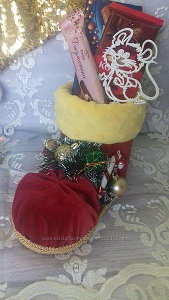 Новогодний рождественский сапожок ботинок для подарков