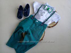 Комплект Джентельмена на 1-1, 5 года белый зеленный