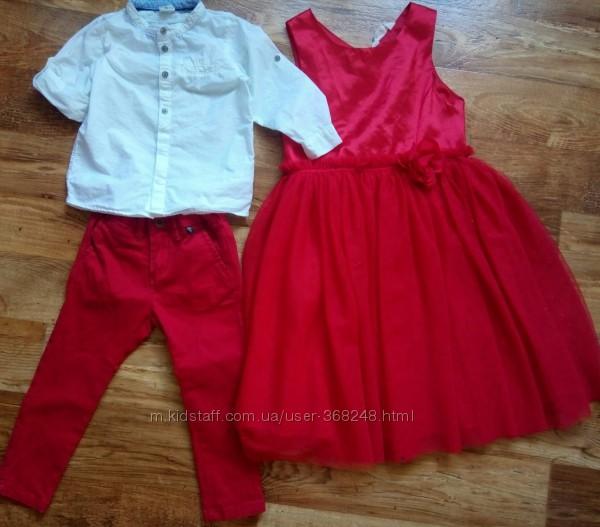 Платье 9-10 лет, красное, нарядное. Family look. лук