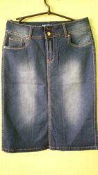 Джинсовые юбки - карандаш. До 54 размера