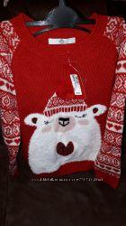 Очень красивый новогодний свитер для девочки на 7-8лет MARKS&SPENSER