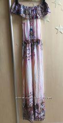 Платья с воланом, рюшей длинные в пол
