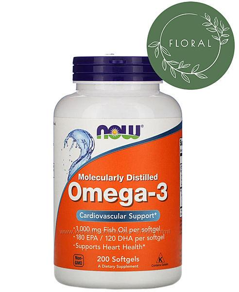 Омега-3 от Now Foods,180 ЭПК / 120 ДГК, 200 капсул