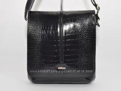 Кожаная мужская сумка Desisan 342-11 черная кроко