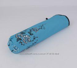 Маленький механический зонт антиветер 1721 голубой с принтом цветы