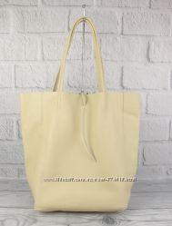 Кожаная сумка-шоппер vera pelle 00483 бежевый, италия