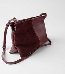 Шикарная сумочка, клатч zara из натуральной кожи и замши цвета марсала, ори