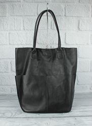 Кожаная сумка-шоппер с клатчем внутри vera pelle 2557 черная, италия