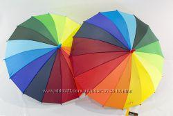 Радужный зонтик для школьника, зонт трость радуга на 7-13 лет