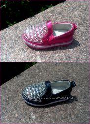 Мокасины туфли для девочки с камнями р-р 22-13 см по 27-15, 5 см