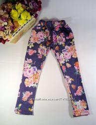 Лосины для девочки стрейчевые под джинс с цветочным принтом р-р 28 на рост