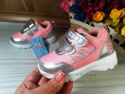 Кроссовки на девочку р-р 21-26 фирма ввт розовые с серебристым