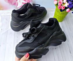 Женские кроссовки на платформе черные р-р 35-40