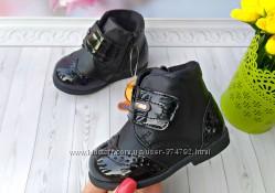 Деми ботинки для девочки р-р 18-22 черные фирма сказка