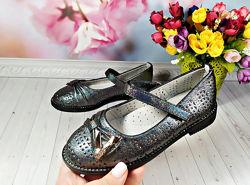 Туфли р-р 27-32 серо-черные фирма lilin