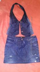 Комплект джинсовая юбка и жилет
