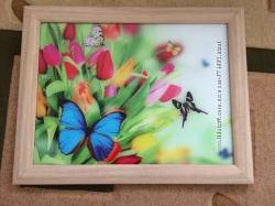 Картина цветы и бабочки в рамке.