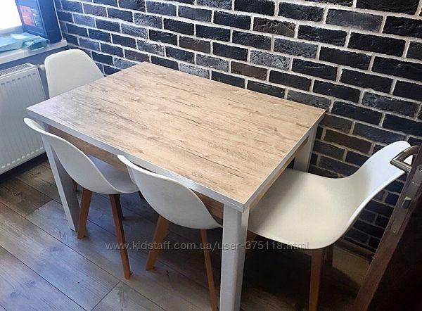 Обеденный раскладной стол МАРСЕЛЬ 90х70см белый- Шервуд