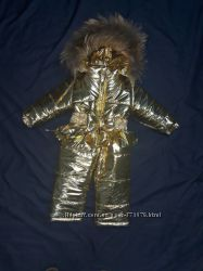 зимнии костюмы для девочки с натуральным мехом