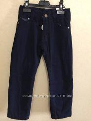Темносиние коттоновые брюки на флисе