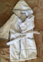 Детский махровый халат с капюшоном Mothercare, размер 12-18 месяцев