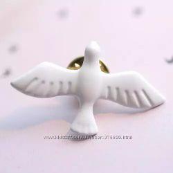 Брошь Белый Голубь брошка птицы птички значок патч пин