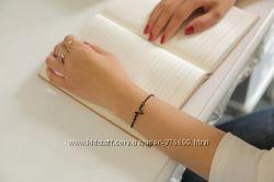Браслет Пульс ЭКГ кардиограмма черный серебро золото кардио цепочка