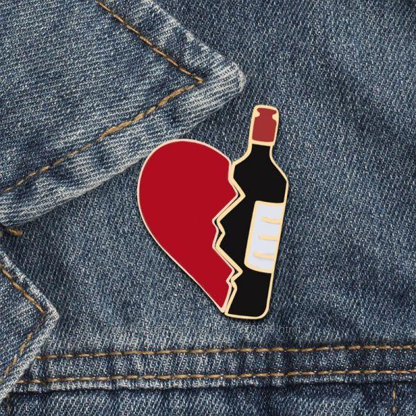 Набор значков пинов one love one wine половинка сердца вино пин двойной
