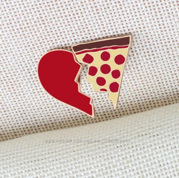 Набор значков пинов one love one pizza половинка сердца пицца пин двойной