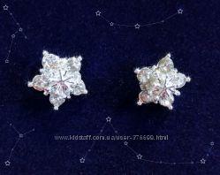Серьги звёзды снежинки эльза стразы кристаллы сережки гвоздики звездочки