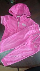 Розовый велюровый костюмчик безрукавка  штаники