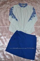 Блуза H&M c красивым принтом под вышивку. Размер S