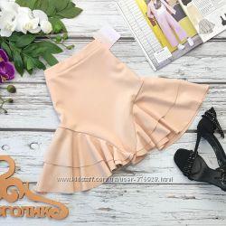 Шикарная мини юбка оттенка nude с эффектным силуэтом  KI2431