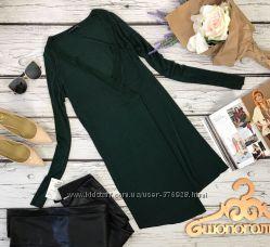 Туника с глубоким вырезом глубокого зеленого цвета  BL3930