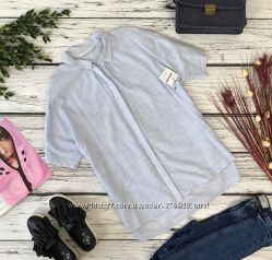 Свободная хлопковая рубашка Zara с легкой ассиметрией
