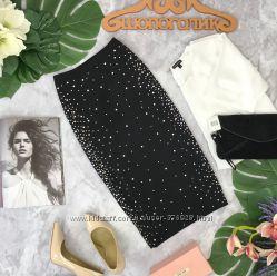 Ультра эффектная трикотажная юбка с декором.  KI180497